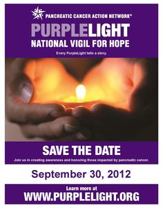 Every #PurpleLight tells a story. Who are you lighting a candle for?     To light a virtual candle in honor of loved ones fighting pancreatic cancer and those who have lost the fight, click here: http://www.facebook.com/JointheFight/app_283428701669047    To find a PurpleLight near you go to www.purplelight.org