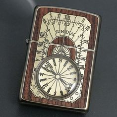 ZIPPO Lighter ANTIQUE SUNDIAL Wood Inlay Both Sides Etching Gold Brass JP Model   Collectibles, Tobacciana, Lighters   eBay!