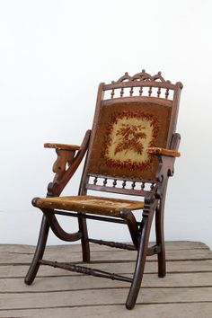 Victorian Folding Chair / Antique Tapestry Chair by 86home on Etsy, $600.00