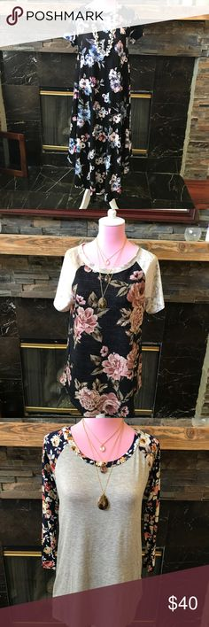 Black Floral Tee Shirt Dress #1103/04 Soft comfortable dress featuring floral prints Material: 95% Rayon & 5% Spandex Style# TUMD1233 e.Luna Dresses