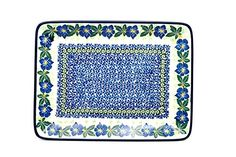 Polish Pottery Platter  Rectangular  Blue Pansy -- Find similar products by clicking the image