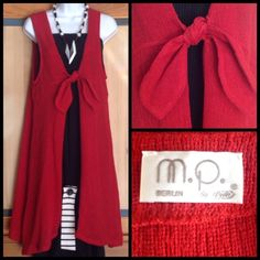 Long Asymmetrical Red Rustic Linen Lagenlook Top This one is absolutely stunning! Wear it as a Lagenlook vest / top or casually with jeans. 90% linen, 10% polyacryl. NWOT M. P. Berlin Tops