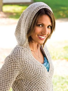 """Choose a natural cotton or linen yarn and create a sweater that is oh so relaxed. You'll love its modern-classic styling. Knit with 1600 (2000, 2000, 2400, 2400) yds worsted-weight yarn at a gauge of 16 sts and 26 rows per 4"""" using U.S. size 7/4..."""