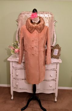 60s Midcentury Coat, 1960s Mod Trench, Jackie O Style Coat, Suede Retro Jacket, Handmade Coat, Leather & Mink Coat, Womens Outerwear, Large by SownThreadsClothing on Etsy