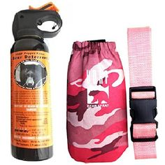 UDAP Bear Spray With Pink Camo Hip Holster  Belt ** Click image to review more details.
