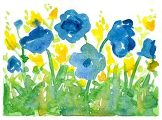 Provencal Royal Blue and Yellow Wildflowers Watercolor Original Painting by countrygarden on Etsy