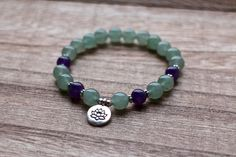 Aventurine and Amethyst Bracelet for Luck New by YogaDotOm on Etsy