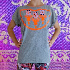 Items similar to Women's grey T-SHIRT, embellished with a bold neon orange print and appliqué panels in a painty polka dot fabric . on Etsy Polka Dot Print, Polka Dots, Organic Cotton, T Shirts For Women, Etsy, Orange, Purple, Trending Outfits, Mens Tops