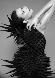 Geometric Fashion - sculptural spike dress with 3D silhouette; experimental fashion design; wearable art