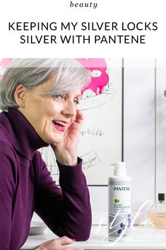 Gray gracefully and keeping my silver locks silver with Pantene Shampoo For Gray Hair, Purple Shampoo, Grey Hair Looks, Going Gray Gracefully, Beauty Over 40, Fashion Over 50, Women's Fashion, Nail Polish Trends, 50 And Fabulous