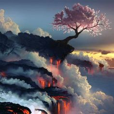 Цветущая сакура на краю вулкана, Япония
