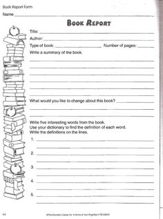 book review template for kids book reports pinte