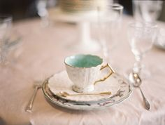 mint & white teacup