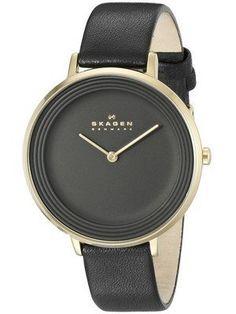 Skagen Ditte sort urskive sort læder SKW2286 damer ur