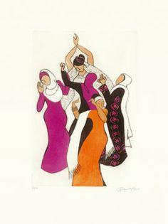 Paula Cox Danza nupcial palestina, 2004 http://www.circulodelarte.com/es/obra/danza-nupcial-palestina/es    Aguatinta en 4 colores Formato de imagen: 46,5 x 31,5 cm Papel: Somerset Satín 75,5 x 57 cm Edición de 75 ejemplares numerados y firmados