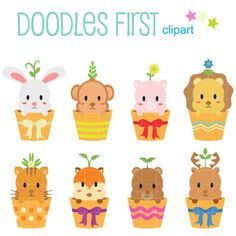 Kawaii Animal Tree Pots Digital Clip Art for by DoodlesFirst