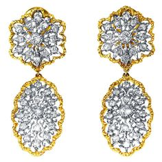 Buccellati Diamond Gold Day and Night Pendant-Earclips | From a unique collection of vintage dangle earrings at http://www.1stdibs.com/jewelry/earrings/dangle-earrings/