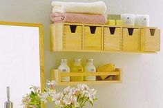 Bathroom Storage Ideas for Small Spaces. Containers from Ikea which they do not make anymore.