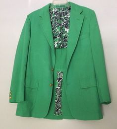 Vtg Lilly Pulitzer Jacket Green Linen Blazer Sports Coat Tigers Brass Buttons #LillyPulitzer #BasicJacket