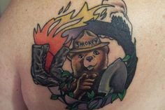 SmokeyBear tattoo with wildland firefighter emblem...would look nice on a shirt for the boys, not sure about a tat.