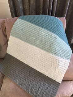 Ravelry: stasiamfox's Modern Colorblock Baby Blanket Easy crochet baby blanket. Henry 's Crochet Baby Blanket Double Crochet Baby Blanket, Modern Crochet Blanket, Easy Knit Blanket, Crochet Carpet, Crochet Home, Neutral Baby Blankets, Modern Blankets, Cotton Crochet Patterns, At Least