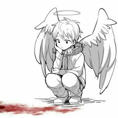 An angel used to blood. Anime Drawings Sketches, Anime Sketch, Cute Drawings, Angel Drawing, Drawing Base, Anime Angel, Estilo Anime, Sad Art, Drawing Reference Poses