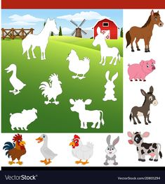 Find The Right Shadow Farm Animals Royalty Free Vector - Find The Right . - Find The Right Shadow Farm Animals Royalty Free Vector – Find The Right Shadow Farm Animals Royal - Toddler Learning Activities, Preschool Learning Activities, Animal Activities, Preschool Worksheets, Infant Activities, Preschool Centers, Literacy Centers, Farm Animals Preschool, Kids Education