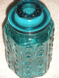 Blue Depression Glass Cannister by GrapevineCollections on Etsy, $24.00