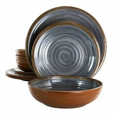 Black Dinnerware, Melamine Dinnerware Sets, Dinner Table, Dinner Plates, Dessert Plates, Extensions, Rustic Style, Black And Brown, How To Memorize Things