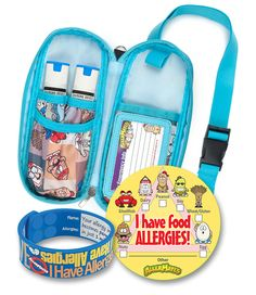 This bundle is quite the arsenal when it comes to protecting kids with allergies. It includes all of the following tools: 1. Allergy Medicine Case (for Carrying Epi-Pens and More): Blue Squares Patter