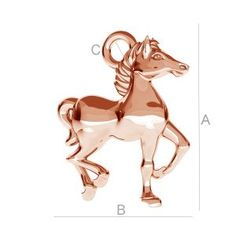 SILVER HORSE CHARM - ODL-00131 SIZE:A=14,50 mm; B=12,00 mm; C=1,70 mm, sterling silver (AG-925)  Available options: AG 925 (18K- Rose Gold Plated) AG 925 (24K- Gold Plated) AG925 ( BRH- Black Rhodium Plated) AG 925 (RH- Rhodium Plated)