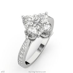 Bague diamants or blanc ROSE DES VENTS 1,27 ct - My-ring-factory