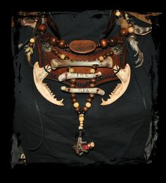 shaman leather bones wood necklace by ~Lagueuse on deviantART