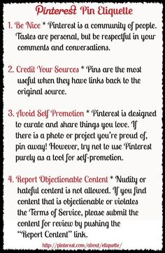 There's etiquette in everything you do...even Pinning! -Pin Etiquette by clare