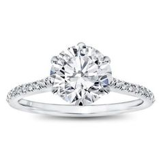 THIS! 6 Prong Diamond Band And Basket Engagement Setting In 14K White Gold with a 1.46 ct. Round Cut Diamond; E, FL
