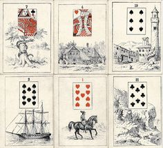 """the antique """"Madam Morrow Fortune Telling Cards"""" that I've been watching for. These are a 36 card Petit Lenormand set illustrated with exquisite etchings."""