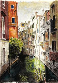 Venice Reflections - Watercolor Landscape A4 Size Limited Edition Print. $10.99, via Etsy.