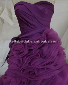 2014 BRIDAL COLORS | 2014 Hot Sales Heavy Organza Ruffle On Skirt Purple Wedding Dress ...