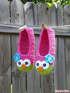 Owl Slippers: free pattern (use google translate)