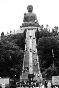 Tian Tan Buddha, also known as the Giant Buddha - Ngong Ping Plateau, on Lantau Island, Hong Kong.  The statue is 34 m tall and happens to be the tallest outdoor seated Buddha image in the world. S)