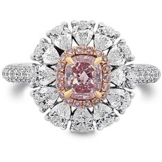 Fancy Intense Pink Cushion & Pear Diamond Dress Ring, SKU 28004V... ($99,500) ❤ liked on Polyvore featuring jewelry, rings, pear cut diamond ring, diamond jewellery, diamond rings, round diamond ring and pear shape diamond ring
