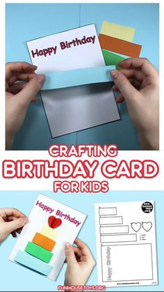 Buying your friends and family funny or thoughtful birthday cards is always a nice gesture. But sometimes its more meaningful if you give someone for their birthday, something that you made yourself! Happy Birthday Crafts, Preschool Birthday, Happy Birthday Printable, Happy Birthday Text, Birthday Activities, Kids Birthday Cards, Activities For Kids, Preschool Printables, Preschool Crafts