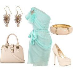turquoise-baby blue and nude by heike-muller on Polyvore