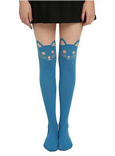 Turquoise faux thigh high tights from LOVEsick with a cat design.<ul><li> One size fits most</li><li>85% nylon; 15% spandex</li><li>Wash cold; dry flat</li><li>Imported</li></ul>