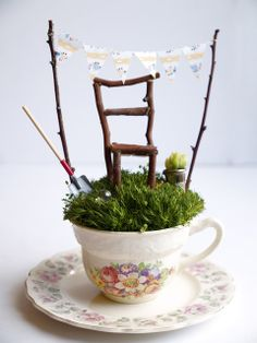 Fairy Gardens- A Guest Post from the Magic Onions ~Supplies Needed:  * pretty teacup  * small stones  * moss that has been well watered * a cute fairy-sized banner w/pretty scrapbook paper: string, glue dots & sticks * Chair Using: sticks, garden scissors & hot glue gun. *Plant a tiny succulent plant into a thimble for a fairy-sized potted plant * Add a few mini tools- found at craft store & a marble for fun ~Water sparingly a few times a week. As it is indoors.