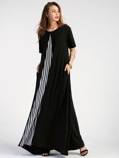 SheIn offers Contrast Striped Panel Full Length Dress & more to fit your fashionable needs. Casual Dresses, Fashion Dresses, Short Sleeve Dresses, Apron Dress, Dress Skirt, Mode Pro, Cheap Boutique Clothing, Latest Dress, Kaftan