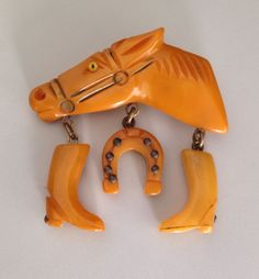 Vintage Butterscotch Bakelite Plastic Horse Pin Brooch Charm Horseshoe Boot Old..