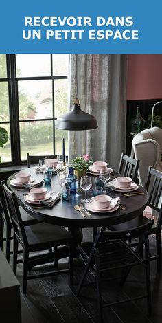 Pour vos réceptions en famille à l'occasion de l'Action de grâces, notre table INGATORP est idéale. Compacte pour la vie de tous les jours, elle s'agrandit lors de vos fêtes. Le fini noir apporte une note d'élégance à la pièce. Jumelez-la à des chaises STEFAN et décorez-la de vaisselle colorée pour l'égayer.