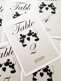 ♥ Mickey Mouse Table Numbers, Disney theme weddings, Mickey Mouse and Minnie Weddings, 4x6 - Set of 10 ♥ OTHER COLORS AVAILABLE Having a Mickey Mouse theme wedding? These would be the perfect addition to your tables. The listing price is $4.00 per table number and the minimum order is 10. The size for these table numbers is 4x6 and they are made of high quality card stock. ♥If you would like a different size, 5x7 or 8x10, then please message me. **Other Disney character couples are…