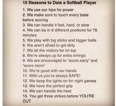 to date a softball player | Softball humor | Pinterest | Softball ...